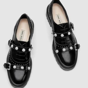 Zara Leather Derby Shoes With Buckle/ Faux Pearls